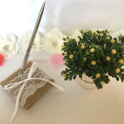 Pluma de firma de boda con sostenedor de encaje de arpillera vintage Juego de plumas de fiesta Suministros de decoración de compromiso nupcial de boda