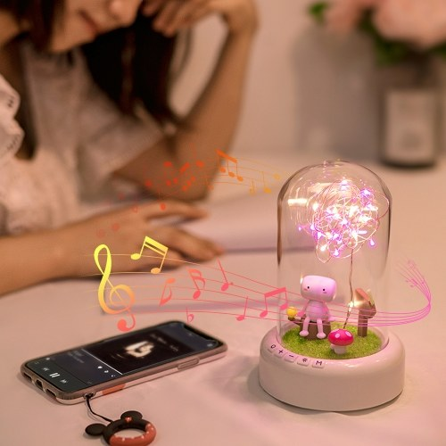 Glass Dome Lamp BT Speaker 3 Color Effects Night Light LED String Lights Rechargeable for Decoration Valentine Day Anniversaries