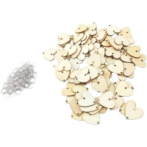 100Pcs Fatias de coração de madeira com 2 furos para botões de costura DIY Craft Wedding Decoration