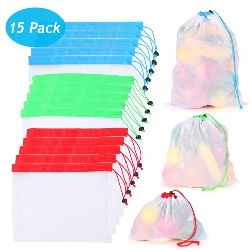 15 PCS Reusable Produce Bags 3 Sizes Washable Mesh Storage Bag with Drawstring and Durable Overlock