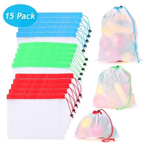 Многоразовые мешки для продуктов 15 шт. 3-х размеров Моющаяся сетчатая сумка для хранения с кулиской и прочным оверлоком