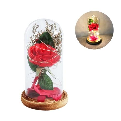 Simulação Rose Flower L-ED String Light com tampa de vidro Lâmpada de mesa Decoração Romântica Presente de aniversário Dia dos Namorados