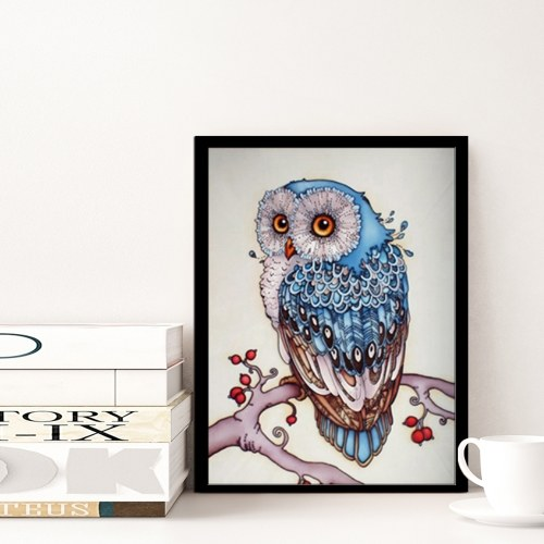 DIY Handmade 5D Diamond Painting Rhinestone Pasted Cross Stitch for Home Wall Decoration Blue Owl