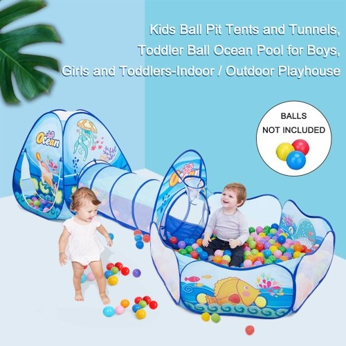 Kids Ball Pit Tents and Tunnels, Toddler Ball Ocean Pool for Boys, Girls and Toddlers-Indoor / Outdoor Playhouse