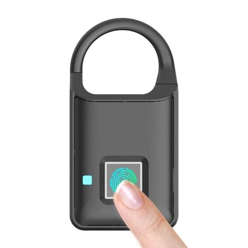 Cadeado de impressão digital inteligente Recarregável sem chave 10 conjuntos Impressões digitais Operação fácil Cadeado de segurança anti-roubo Porta Bagagem Bloqueio (Preto)
