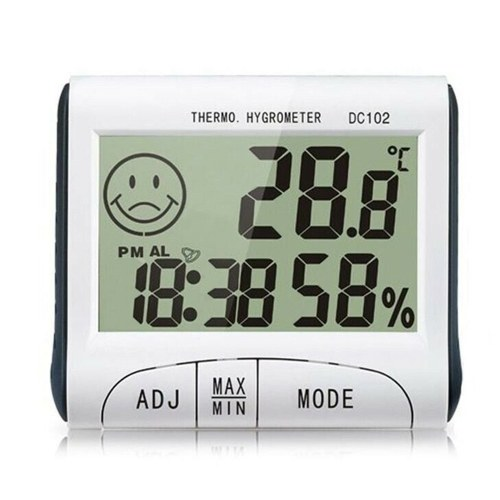 Minitype Digital Indoor Thermometer Hygrometer Clock DC102 LCD Screen