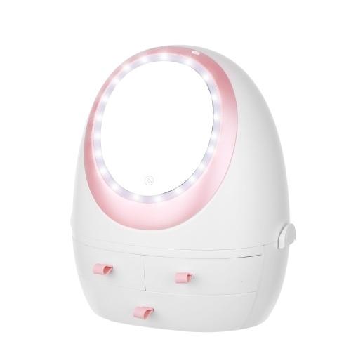 Caja de almacenamiento de cosméticos con organizador de maquillaje a prueba de polvo con espejo iluminado por LED