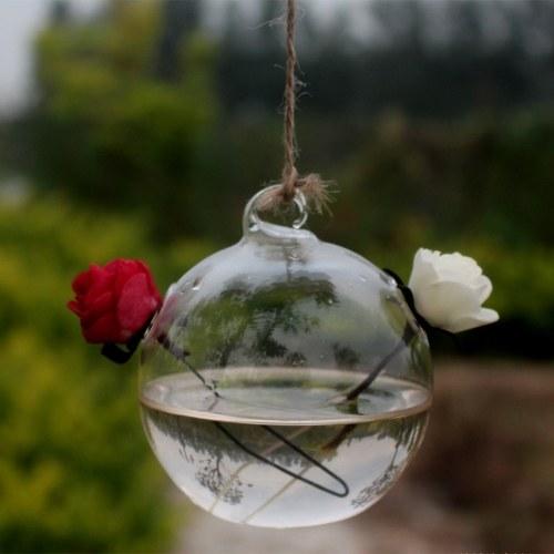 Vaso per piante idroponiche da tavolo in vetro trasparente