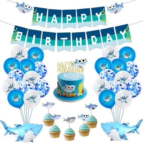 Baby Shark Party Supplies Birthday Baby Happy Birthday Banner Shark Balloons