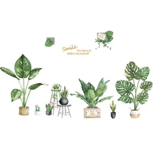DIY Wandtattoos Grüne Topfpflanzen geformte Thema Jungen Kinderzimmer Wandaufkleber