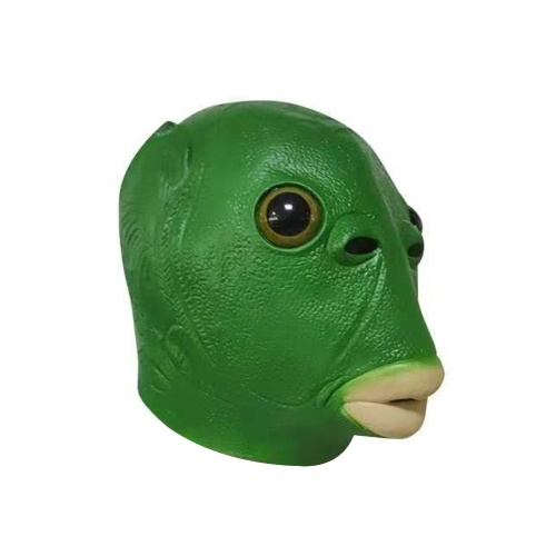 Máscara de cabeça de peixe verde
