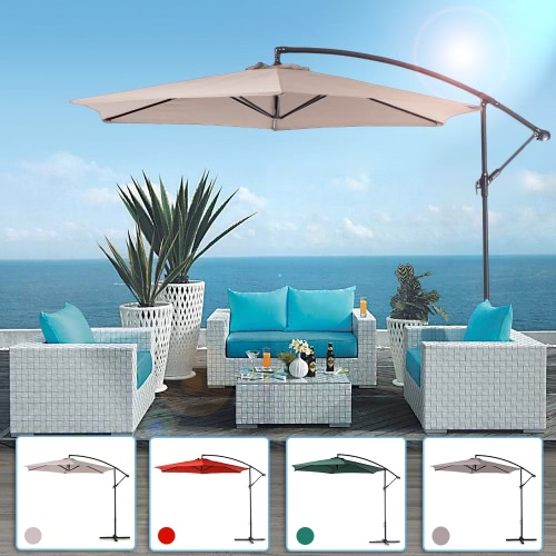 iKayaa 3M Adjustable Patio Garden Hanging Umbrella with Crank Cross Base Wind Vent Sun Shade Outdoor Cafe Beach Steel Parasol 6 Steel Rib