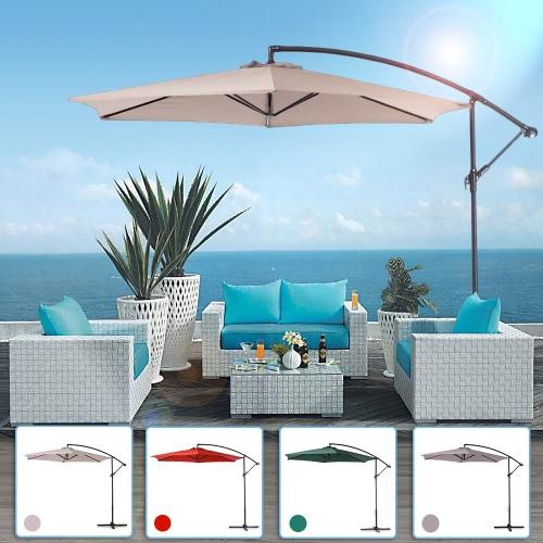 iKayaa 3M Regulowany Patio ogrodowe wiszące parasol z Shade Crank Krzyż Baza Wiatr Vent Sun Odkryty Cafe Beach Steel Parasol 6 Stali Rib