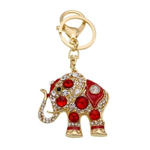 Цинковый сплав Rhinestone Key Chain Полый блестящий брелок с клипсой Hook Сумочка Кошелек автомобилей Подвеска Орнамент Декор - Слон