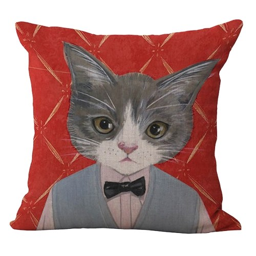 18 * 18 inches / 45 * 45cm Polyester Cartoon Cat Cushion Cover Decorative
