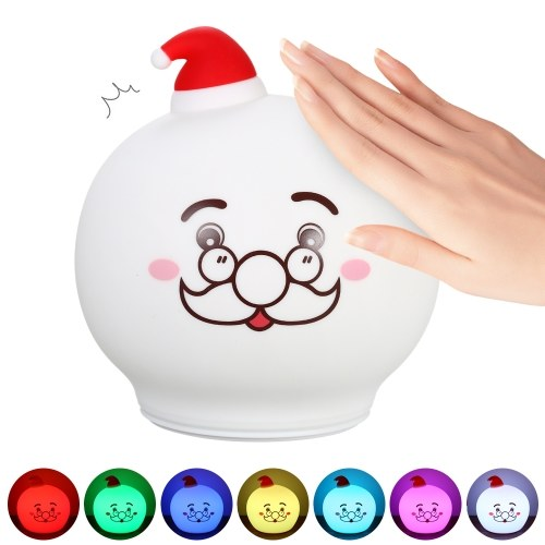 USB Rechargeable LED Silicone Patting Control Christmas Santa Lamp