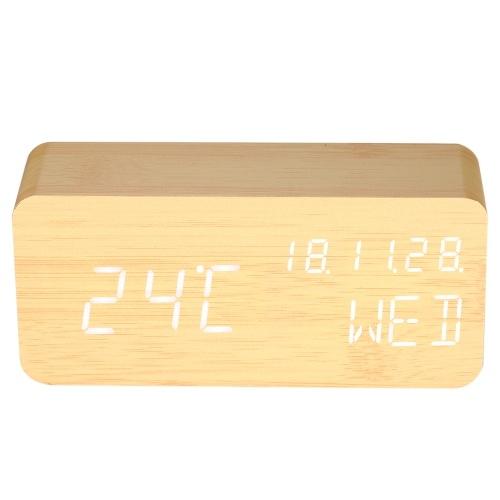 Sveglia di controllo del suono digitale a LED in legno