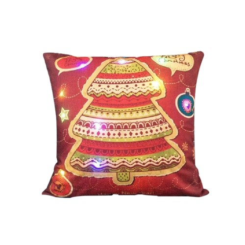 18 * 18 inches / 45 * 45cm Linen Colorful LED Light Merry Christmas Cushion Cover