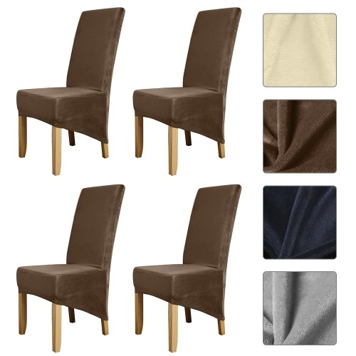 Silver Fox Solid Color Chair Cover Stretch Chair Protector Non-slip Removable Washable for Dining Chair Hotel 4pcs Deep Camel