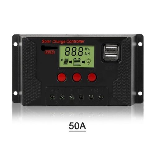Controlador de carga solar 50A, Controlador de panel solar Pantalla LCD ajustable de 12V / 24V Regulador de batería del panel solar con puerto USB dual, carga 3 tipos de baterías