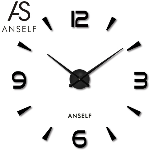 Anself Simple Digits Mirror Effect Wall Clock Removable Acrylic Wall Decal Set Home Decoration Black
