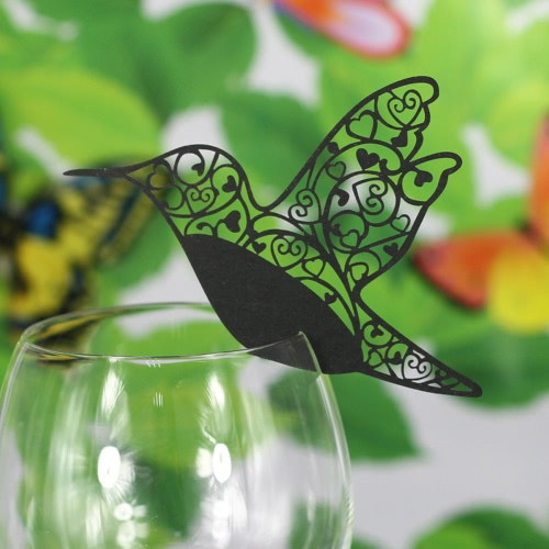 50 PCS Excellent Laser Cut Beautiful Humming Bird Delicate Carved Bird Shaped Romantic Wine Glass Decoration Cards for Party Wedding