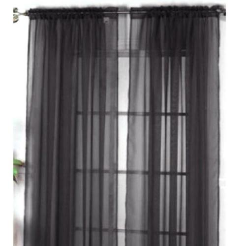 2Pcs 100*200cm Romantic Pure Color Voile Door Window Curtains for Living Room Wedding Banquet Decoration Black