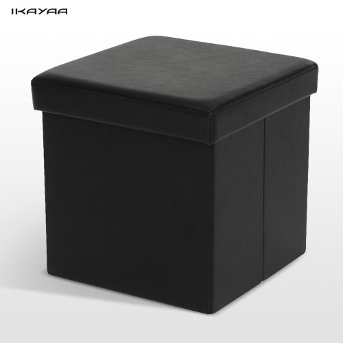 iKayaa Modern Faux Leather Folding Storage Ottoman Foot Stool Seat Footrest Foldable Storage Box Pouffe Home Furniture 14.76 * 14.96