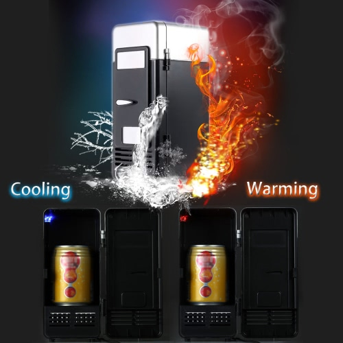 Mini USB Refrigerator Fridge Beverage Drink Cans Cooler Warmer Red Blue LED Light