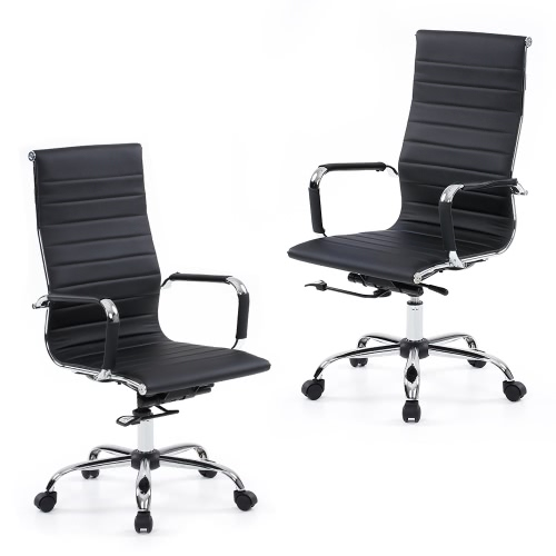 iKayaa Luxury Ergonomic PU Leather Office Executive Chair Stool Adjustable Swivel High Back Computer Task Office Furniture
