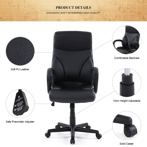 iKayaa Faux Leather Adjustable Swivel Office Executive Chair Stool High Back Ergonomic Computer Task Office Furniture with SGS Intertek Testing Report