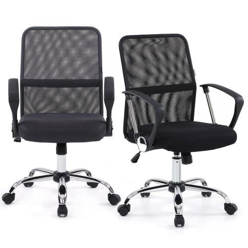 iKayaa Ergonomic Adjustable Mesh Office Executive Chair Stool 360°Swivel Computer Task Chair Office Furniture