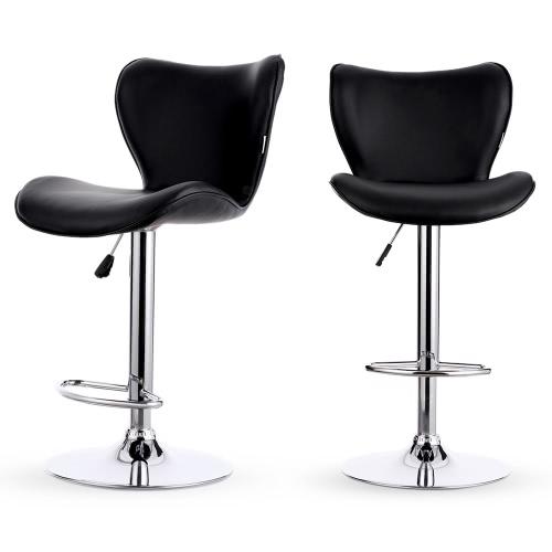 iKayaa 2PCS / Set di 2 Cuoio Sgabello girevole sedia regolabile in altezza pneumatica contatore Bar sedia Sgabelli pesanti