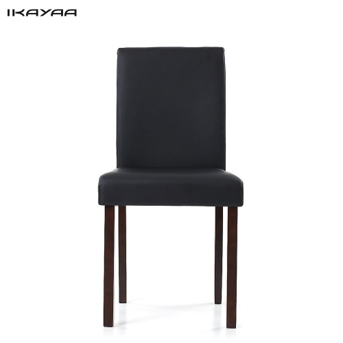 iKayaa 2PCS/Set of 2 Modern Faux Leather Dining Chairs Wood Frame Padded Kitchen Side Parson Chairs Breakfast Stools
