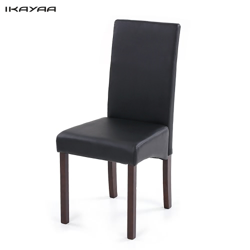 iKayaa 2PCS/Set of 2 Modern Faux Leather Dining Chairs High Back Wood Frame Padded Kitchen Side Parson Chairs Breakfast Stools