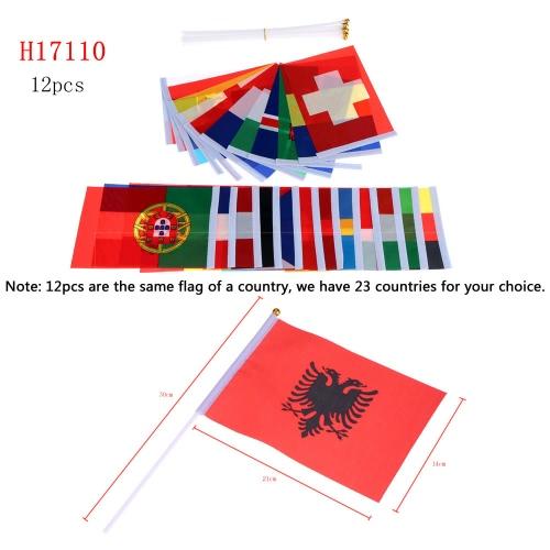 Anself 12St 2016 Europacup Olympischen Spiele Welt Handheld Flagge mit Fahnenmast Flagge für Euro 2016 International Day Sports Events Hand Flag Gr. 14 * 21cm