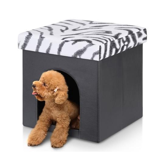 iKayaa faltbare Kunstleder Lagerung Ottoman Hideaway Haustier-Bett-Haus Storage Box Fuß Hocker Sitz Pouffe Instant Coffee Table