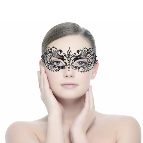 Festnight Elegant Black Laser Cut Metal Half Mask with Rhinestones Masquerade Ball Halloween Mask Fancy Gift