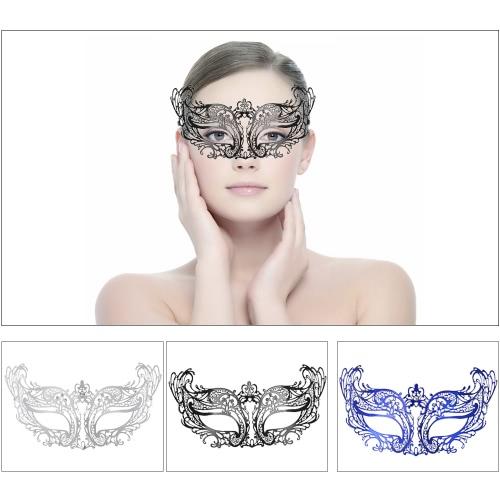 Festnight Fashionable Black Laser Cut Metal Half Mask with Rhinestones Masquerade Ball Halloween Mask Fancy Gift