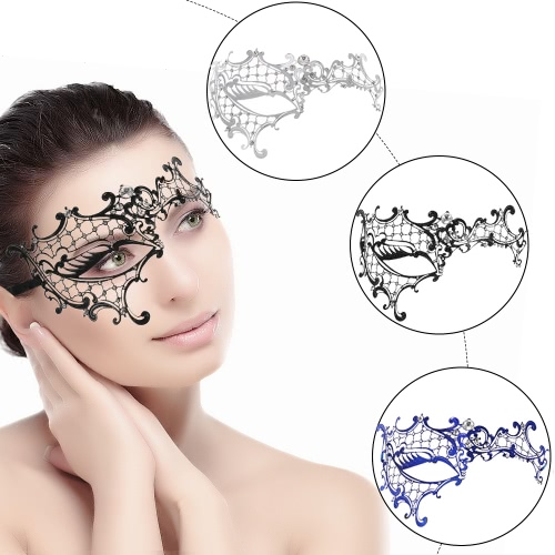 Festnight Luxe Black Laser Cut Demi Métal Masque Masque Strass Masquerade Halloween Ball
