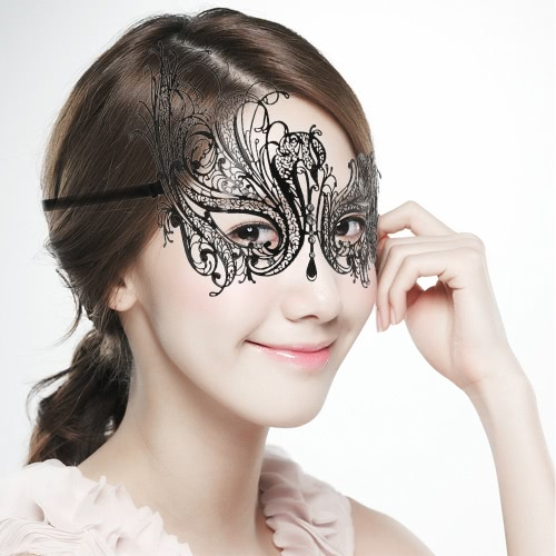 Festnight Luxury Black Laser Cut Metal Mask with Rhinestones Masquerade Ball Halloween Mask Fancy Gift