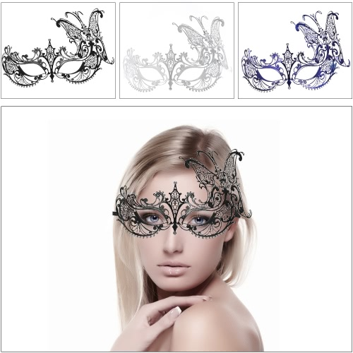 Festnight Luxury Butterfly Design Black Laser Cut Metal Half Mask with Rhinestones Masquerade Ball Halloween Mask