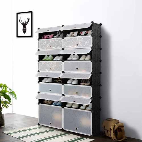 iKayaa Multi-Use 8 Layers DIY Cube Plastic Shoes Rack