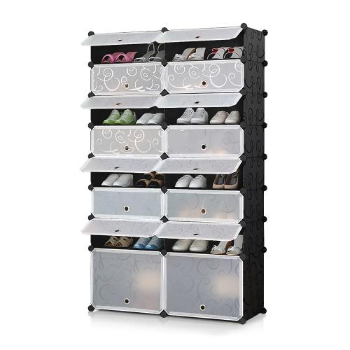 iKayaa Multi-Use 50 Par DIY Cube plastikowe buty Rack 16 Siatki Buty magazynowe Organizer Bookcase Woda Proof Toy Cloth Closet with Door