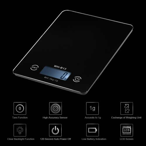 5KG/1G Accurate Touch Screen LCD Backlight Digital Kitchen Food Scale G/LB/OZ Electronic Weight Balance for Baking Cooking Tare Fu