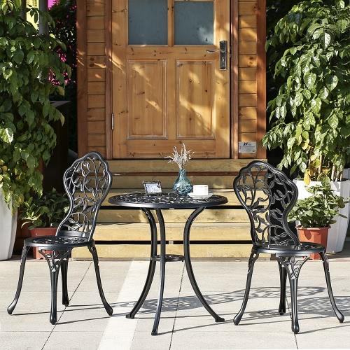 iKayaa 3PCS Modern Outdoor Patio Bistro Set Aluminum Porch Balcony Garden Table & Chairs Set Furniture Leaves Design Black