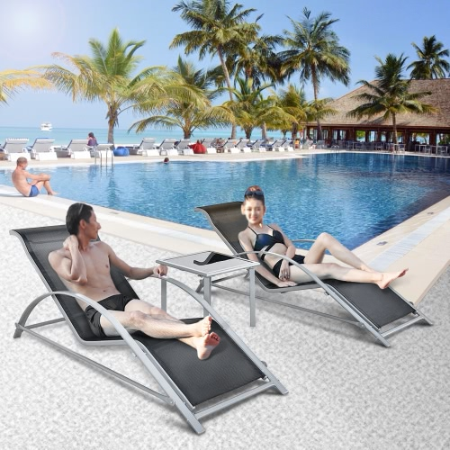 iKayaa Mode 3PCS Chaise Lounge Patio Chair Set Meubles W / Table d'extérieur Bain de soleil Set Textilene + Construction Fer