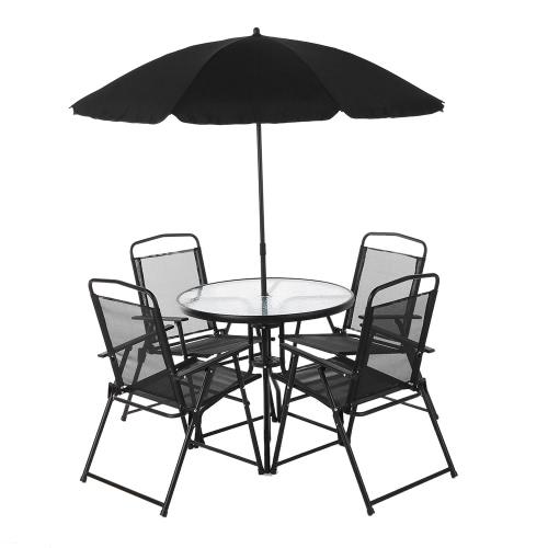 IKayaa 6PCS Открытый Патио Обеденный набор мебели W / Tilt Зонтик Металл Сад Обеденный стол Стулья Складной дизайн