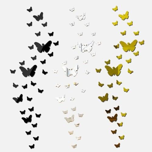 25pcs клей DIY 3D бабочки Зеркало Стена Гостиная Спальня Ванная Стик Декаль Главная партия декора росписи искусства наклейки