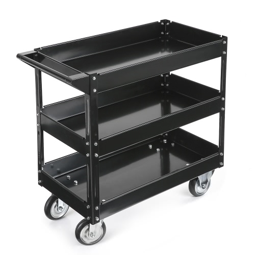 iKayaa 3 étagères en acier Panier Outil 100KG Capacité Utilitaire Panier de stockage Chariot de service W / 360 ° Roulettes pivotant Rouge / Noir
